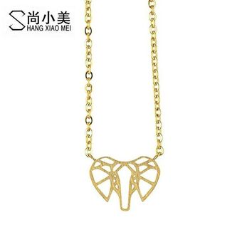 Maxi Choker Statement Origami Elephant Face Necklace Gold Color Mother Gift Pendants Necklaces Chain Collar Boho Jewelry