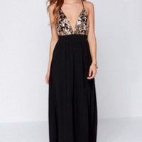 Lovers + Friends Good as Gold Black and Gold Sequin Maxi Dress