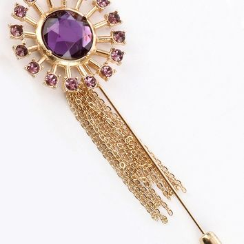 Purple Glass Stone Tassel Chain Metal Pin And Brooch