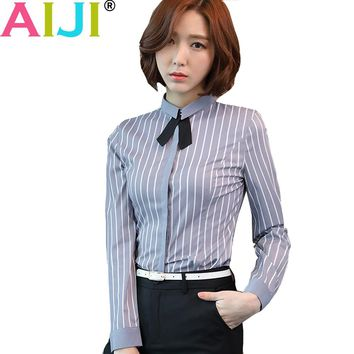 AIJI autumn winter women long sleeve blouse OL elegant stripe bow tie formal chiffon shirts office ladies work wear tops