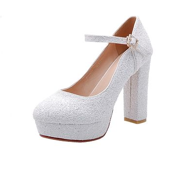 Sequined Bridal Shoes Platform Pumps Super High Heel