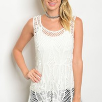 117-3-5-T59242 OFF WHITE CROCHET TOP / 6PCS