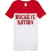 Ohio State University Bling Athletic Yoke V-neck Tee - PINK - Victoria's Secret