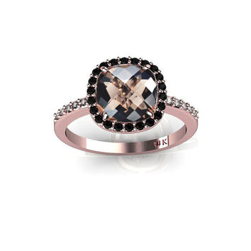 New 14K Rose Gold Ring with Smoky Quartz Black Diamonds Halo Champagne Diamonds Engagement Ring