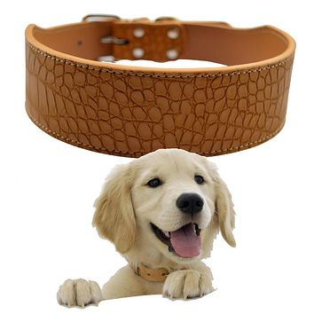 2 Inch Wide Croc Leather Dog Collar Medium Large Size Collars For Dogs Pitbull Mastiff Boxer Red Pink Black White Gold Yellow