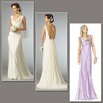 Sleeveless WEDDING BRIDAL Evening Dress- Deep V Bare Back, Draped Neckline Vogue 2965 Sewing Pattern Bust 29.5-30.5-31.5 Size 4-6-8 UNCUT