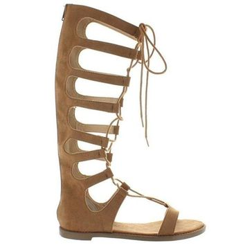ONETOW Chinese Laundry Galactic - Coco Brown Micro Suede Tall Gladiator Sandal