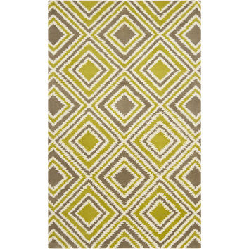 Naya Collection New Zealand Wool Area Rug in Green-Yellow, Caper Green, and Winter White design by Surya