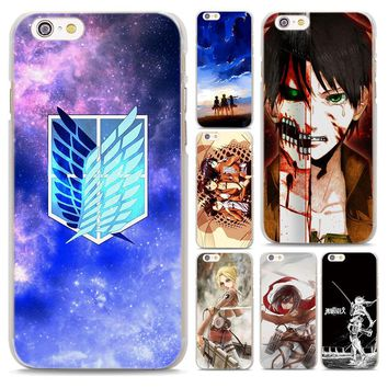 Cool Attack on Titan  style Transparent frame hard Phone Case Cover for Apple iPhone 6 6s 7 8 Plus 6sPlus 7Plus SE 5S AT_90_11