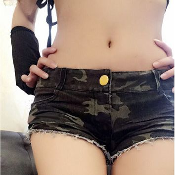 2018 New Hot Sale Sexy Womens Spring  Summer Style Camouflage Shorts Women Denim Shorts Low Waist