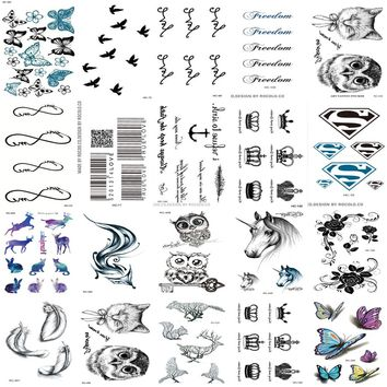 20pcs 1 Set Waterproof Fake Temporary Tattoos Harajuku Black Words Anchor Leaf Design Women Men Finger Cute Flash Tatoo Sticker
