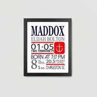 Boy Birth Announcement Name Initial Nautical Anchor Measurements Personalized Red Blue 8x10 Digital Download Download, Decor Wall Art Print