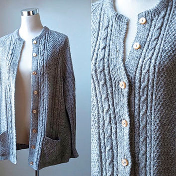Oversize Cable Knit Cardigan / Grey Brown Taupe / Vintage / Hand Knitted / Women Large Knitwear