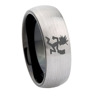10mm Hatchet Man Dome Tungsten Carbide Silver Black Mens Band Ring
