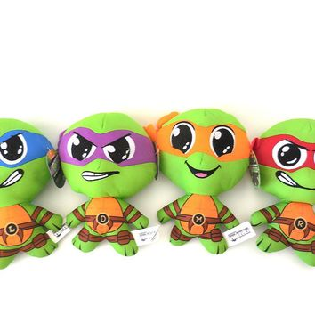 "Teenage Mutant Ninja Turtles 8"" - 4 Piece Plush Set - Includes: Mikey, Leo, Donn"