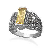 Yellow Cubic Zirconia Bar and Marcasite Ring