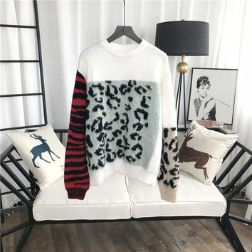 Luxurious Soft Mohair Wool Wild Cat Color Block Sweater