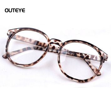 OUTEYE Round Plain mirror Frame Vintage Men Women Glasses Computer Eyeglasses Frame anti-fatigue goggles Clear Lens Eyewear