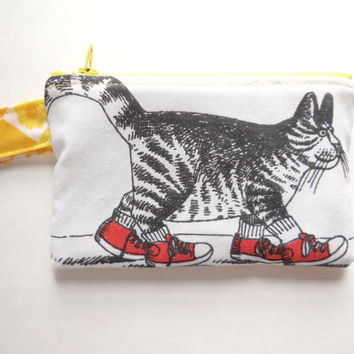 Kliban Cat Wallet - Yellow Flowers - Small Zipper Pouch - Women's Zip Wallet - Cat Coin Purse - Teen Girl - Soft Summer Light Bag