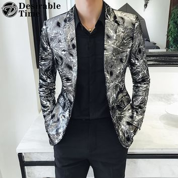 Silver and Gold Blazer Jacket for Men Fashion Prom Blazers Mens Dress Jacket Stage Wear Men Printed Blazer Slim Fit DT432
