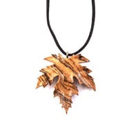 Wooden Pendant, Wood Jewelry, Wood Leaf Pendant, Wooden Carved Pendant, Leaf Carved Pendant, Wooden Jewelry, Leaf Pendant, Leaf Necklace