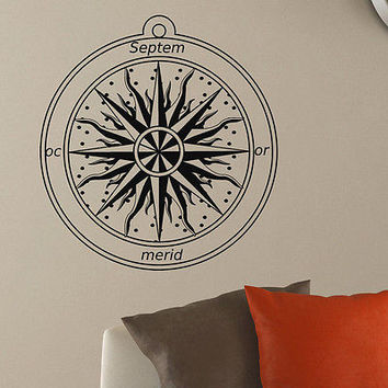 WALL DECAL VINYL STICKER WIND ROSE COMPASS TRAVEL GEOGRAPHY DECOR SB412