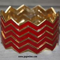 Red Chevron Bangle Set