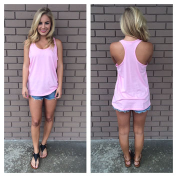 Pink T-Back Cotton Tank