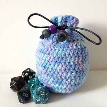 Dice Bag, Small Blue Crochet Purse, Baby Blue Purple Coin Bag, Crocheted Yarn Pouch, Knitted Purse, Blue Counter Bag, Small Bag of Holdi