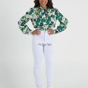 Leilani Green Tropical Print Tie Neck Blouse