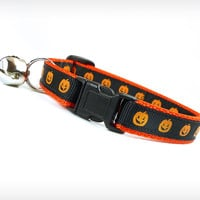 "Halloween Cat Collar - ""Superstition"" - Wicked Tiny Pumpkins on Black & Orange"
