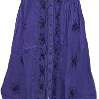 Mogul Womens Skirts Embroidered Rayon Button Front Blue Skirt S: Amazon.ca: Clothing & Accessories