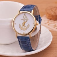 Unisex Unique Casual Anchor Leather Strap Watch Best Christmas Gift Watch-440