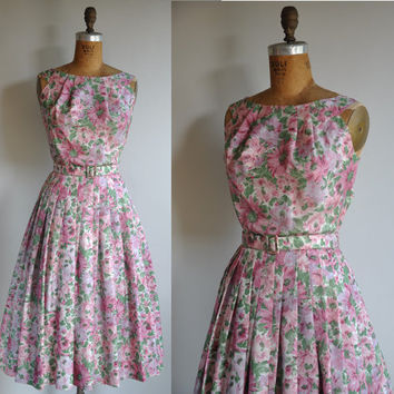 vintage 1950s Fairy Paradise pink floral by simplicityisbliss