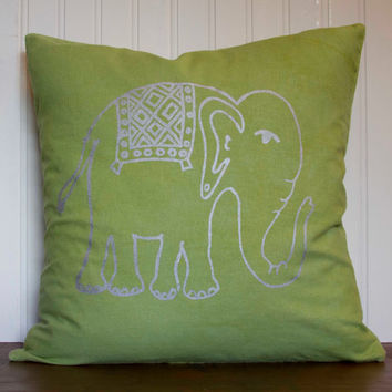"Elephant Pillow- 16""x16"" Decorative Throw Pillow Cover with screen printed elephant in silver on lime green linen"