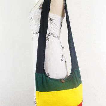 Rasta reggae Hippie Hobo Bag Women handbags bohemian gpysy Boho bag Crossbody bag  Sling Cotton Shoulder Messenger bag Tote Purse