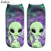 Zohra 2016 New arrival Funny Aliens 3D Print sock Women's Girls Low Cut Ankle Socks Jogging Sport Cotton Hosiery Printed Socks