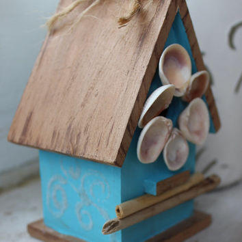 Coastal Birdhouse Hand Painted With Artistic Shell Wreath , Sand Art & Driftwood One of a Kind Beach House Decor