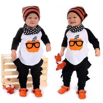 2016 Pumpkin T Shirt Baby Boy Halloween Clothes Girls Clothes Casual Tops+Pants 2pcs Outfits Set