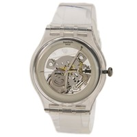 Swatch SUOK105 Men's Look Through Originals Silver Skeleton Dial Strap Watch
