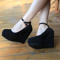 Sexy Womens Dress Party Buckle Wedge Strappy Platform High Heel Shoes Black