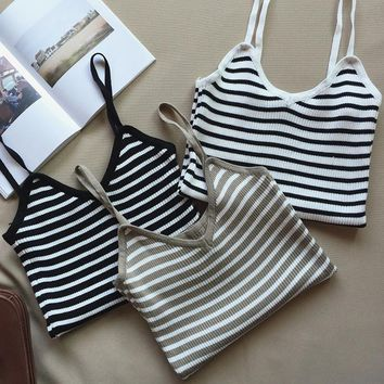 Knit Navy Striped Tank Top Vest