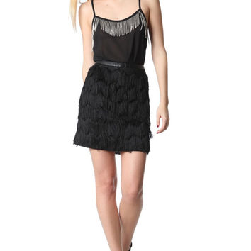Q2 Black Mini Skirt With Soft-Touch Fringe Detail