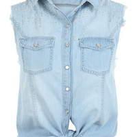 Sleeveless Crop Tie Shirt - Tops  - Apparel
