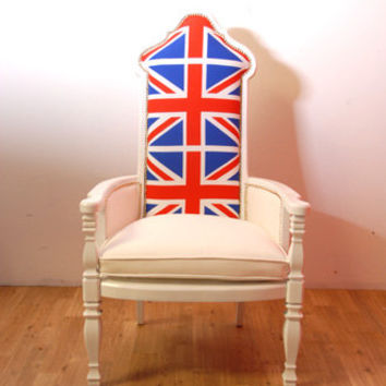 Union Jack British Flag White Throne Chair