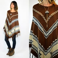 PERUVIAN bohemian ethnic hippy FRINGED sweater PONCHO, extra small-medium
