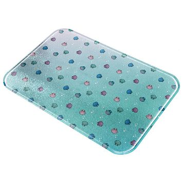 Mermaid Shells Bubbles Pattern Multi All Over Glass Cutting Board