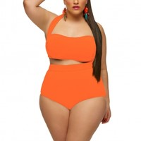 """Sao Paulo"" High-Waisted Plus Size Bikini Top with Underwire -Neon Orange - Monif C"