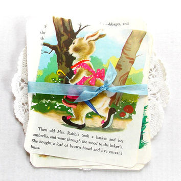 Vintage Children's Book Pages / Peter Rabbit / Easter Ephemera / Junk Journal
