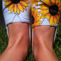 Sunflower Spring/Summer/Fall Wedding Custom/Handpainted TOMS Shoes
